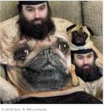 Man in dog shirt poses with dog in man shirt
