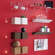 Attractive Shelf Diffe Design As Wall Decorating Ideas On Red Paint Suitable Installed In Living