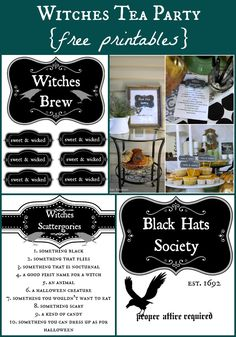 Free printables for a Witches Tea