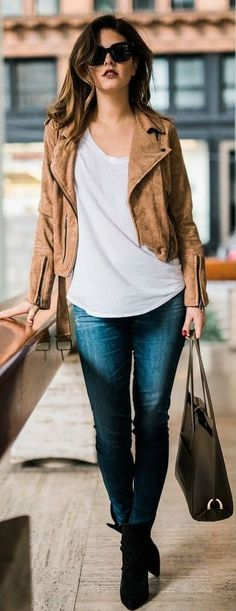 #business #casualoutfits #spring | Brown Suede Jacket + Basics | Love From Jackie