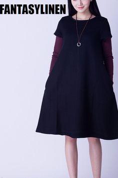 Short Sleeve Wool Casual Fitting Dress Women Tops Q2809A
