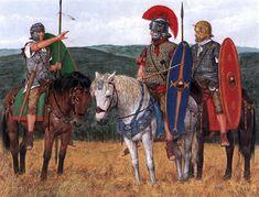 """Equites Singulares Augusti, First Dacian War, AD 101/2"" -Trooper -Decurion -Trooper"