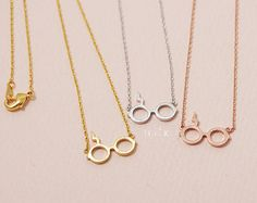 Gold/ Silver/ Pink gold  Harry Potter Glasses Necklace