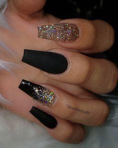 coffin nails - yellow acrylic nails - - - Black with Glitternailsvibez By . nailinspiration nailitdaily nailswag nailaddict qualitynails nailworld theglitternail nailonfleek nailprodigy nailshape getn Source by spicelandjohnsie idea 2019 Black Acrylic Nails, Summer Acrylic Nails, Best Acrylic Nails, Acrylic Art, Black Coffin Nails, Summer Nails, Black Nails With Gold, Black Nail Art, Spring Nails