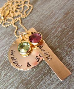 Gold Hand Stamped Personalized Mother's Necklace with Birthstones -Mommy, Nana, Grandma, For Her, Daughter, Sister. $65.00, via Etsy.