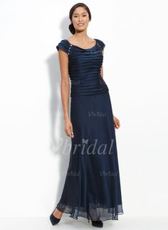 Mother of the Bride Dresses - $138.99 - A-Line/Princess Off-the-Shoulder Floor-Length Chiffon Mother of the Bride Dress With Ruffle Beading (00805006769)
