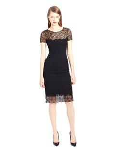 Oscar de la Renta - Lace and Ribbon Tweed Pencil Dress