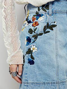 Jackson Embroidered Denim Skirt