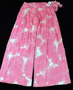 Vince Camuto Swim Cruise Pink Leaf Pants with Side Tie Womens Size Small NEW