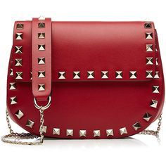 Valentino Rockstud Leather Shoulder Bag (7 345 SEK) ❤ liked on Polyvore featuring bags, handbags, shoulder bags, purses, valentino, red, red purse, valentino handbags, leather handbags and red leather purse