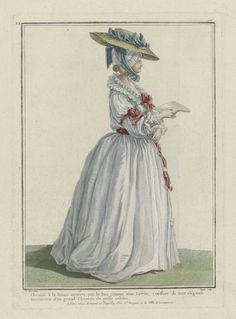 Queen Marie-Antoinette in a 'chemise à la Reine' with double pleated collar, a 'coiffure de nuit' covered with a cap of tulle, and a large straw hat with a downward brim. Print from the 'Gallerie des Modes' series, by Nicolas Dupin after Pierre Thomas Le Clerc, 1784
