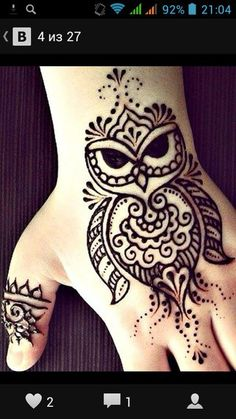 Henna Hand Designs, Beautiful Henna Designs, Simple Mehndi Designs, Henna Tattoo Designs, Animal Henna Designs, Mehndi Tattoo, Henna Mehndi, Hand Henna, Tattoo Owl
