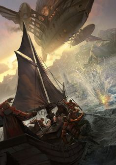 Airship makes a bombing run against a ship, #steampunk #fantasy inspiration  llustration from Rise, art by Section Studios