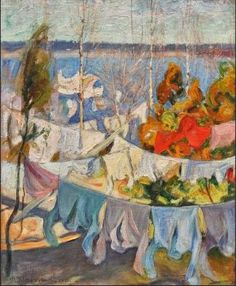 by Pekka Halonen Laundry Art, Laundry Drying, Laundry Lines, Scandinavian Paintings, Post Impressionism, Lost Art, Art Plastique, Art Forms, Hanging Out