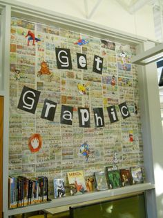 Graphic novel bulletin board idea. I think this could easily be modified for a display instead of a bulletin board.