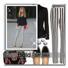 """""""Strong Stripes: Graphic Striped Pants"""" by matildiwinky ❤ liked on Polyvore featuring Gucci, Alexander McQueen and Dolce&Gabbana"""