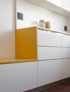 Duplex apartment in the centre of Milan by +R / www.piuerre.com / photo by Michele Filippi / #apartment #renovation #interior #duplex #kitchen #custom #furniture #bench #yellow #parquet