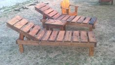 Reclaimed pallet wood chaise lounge chairs (adjustable)  with chevron table