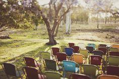 Retro-Chairs Add Fun and Whimsy to Wedding Decor - Photo: Andrea Reh #weddingceremony #vintagewedding
