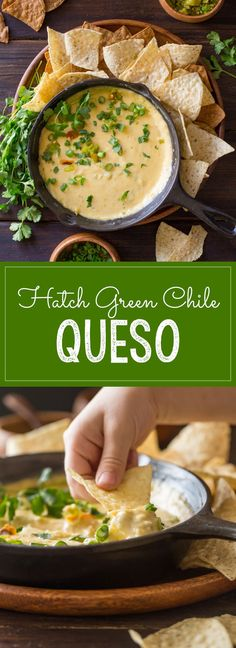 Green Chile Queso - Even without boxed cheese, this dip comes out smooth and creamy and is super quick and easy to make!Hatch Green Chile Queso - Even without boxed cheese, this dip comes out smooth and creamy and is super quick and easy to make! Hatch Green Chili Recipe, Green Chili Recipes, Hatch Chili, Green Chile Queso Recipe, Green Chili Salsa, Mexican Dishes, Mexican Food Recipes, Nachos, Empanadas