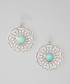 Silver  Turquoise Heart Disc Earrings
