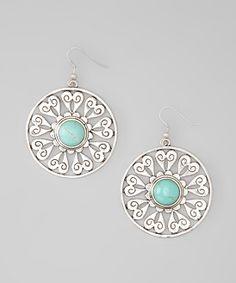 Silver & Turquoise Heart Disc Earrings.