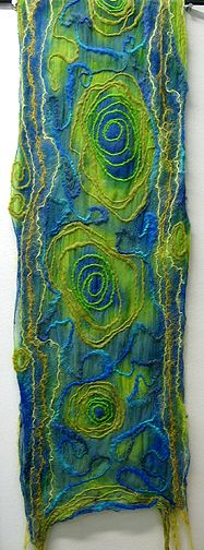 "Laminated (Nuno) Felt Scarf  Tammy demonstrated this technique on HGTV show, ""That's Clever"" back in March '06!!  Instructor: Tammy L. Deck"