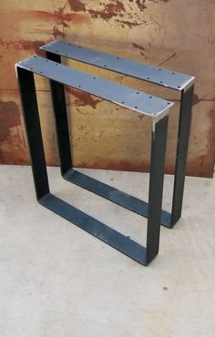 Metal Table Legs   Flat Bar Squared | Steel Material, Rust And Contemporary
