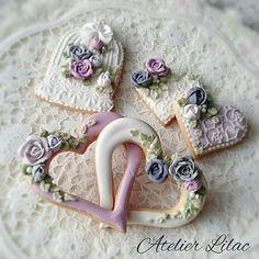 ハートのダブルリング  #アトリエライラック#アイシングクッキー教室#バレンタイン#ハート#リング#シュガーレース#薔薇#鳥かごicing#icingcookie#frosting#rose#birdgauge #heart#sugarlace#sugarrace大阪池田#豊中#伊丹#川西#宝塚#西ノ宮#茨木#高槻#箕面
