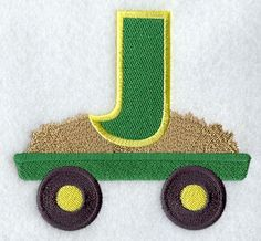 Tractor Letter J Special Letters, Alphabet Design, Baby Monogram, Cool Lettering, Letter J, Letters And Numbers, Machine Embroidery Designs, Birthdays, Tractor