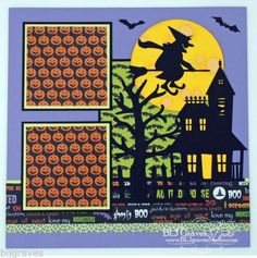 Mouse over image to zoom    Have one to sell? Sell it yourself Premade Scrapbook Page Paper Piecing for Album Halloween Haunted House Witch ...