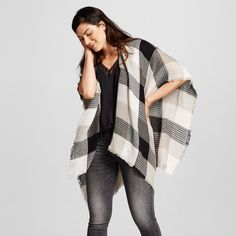 Women's Plaid Ruana Wrap, Black