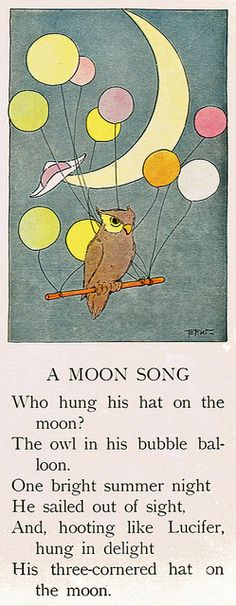 "A Moon Song    Scanned from my book: ""The Peter Patter Book: Rimes for Children"" by Leroy F. Jackson, pictures by Blanche Fisher Wright. Rand McNally & Company, Chicago. Copyright 1918."