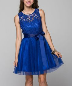 Look at this La Scala Royal Blue Lace Fit & Flare Dress on #zulily today!