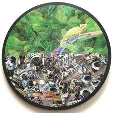 Camaleão - collage sobre madeira - 33 cm - 2007 - colagem de Silvio Alvarez - arte, art, collage, colagem, collage art, collage artist, paper, papel, revistas, recortes, sustentabilidade, reciclagem, reaproveitamento, arte ambiental, brazilian art, silvio Alvarez, surrealism, surrealismo, surreal, collagework, camaleao, lixo, reciclagem, ferro, sucata, natureza, ambiental, clima, mudança climatica, sustentabilidade, recycling, iron, scrap, nature, environmental, climatic change,  chameleon
