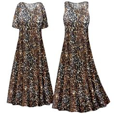 Customizable Black & Brown Animal Slinky Print Plus Size & Supersize Short or Long Sleeve Dresses & Tanks - Sizes Lg XL 1x 2x 3x 4x 5x 6x 7x 8x 9x
