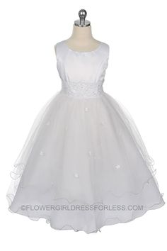 MB_110W_SALE - Flower Girl Dress Style MB_110 White - SALE! Size 2,4,8,12 or 16 - First Communion Dresses - Flower Girl Dress For Less