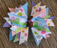 Chocolate Bunny Easter Bow