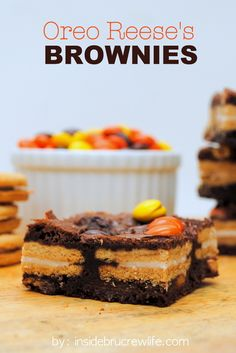 Oreo Reeses Brownies - brownies stuffed with golden Oreos and Reeses Pieces are the way to go for dessert