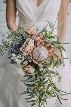 Native bouquet, king protea, lavender, gum, sweet peas