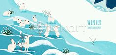 A cute polar rabbit back ground image #image #polar_rabbit #back_ground #illustraiton #iclickart