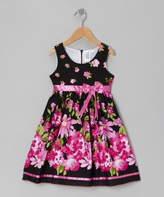 Take a look at this Black & Pink Rose Dress - Girls on zulily today!