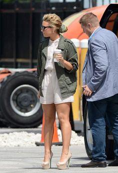 Demi Lovato wearing Topshop Khaki Army Jacket, Topshop Cjg Back Zip Peeptoe Court Shoes by Cjg and Topshop Diamante Collar Playsuit Romper.