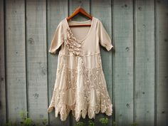 Med. Shabby Chic Day Dress// Knit and Crochet// by emmevielle, $85.00