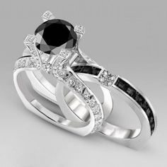 Round Cut Black Diamond Two-in-One Sterling Silver Engagement Ring / Bridal Ring Set