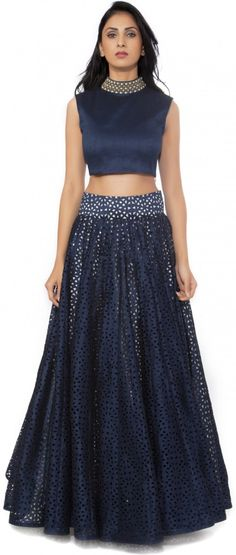 Buy Fabron Women's Blue Cutwork Lehenga n Long Sleeveless Choli online in India at best price.Type: Lehenga Choli Lehenga Fabric: Raw silk Choli Fabric: Raw silk Sleeve: Sleeveless Embroidered: Yes Lehenga Choli Designs, Ghagra Choli, Indian Bridal Fashion, Indian Wedding Outfits, Indian Outfits, Indian Clothes, Ethnic Outfits, Ethnic Dress, Raw Silk Lehenga