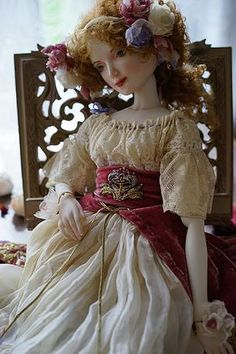 Porcelain doll by Oksana Saharova. Maryshka. porcelain, 65cm. Collection Muses by Alphonse Mucha