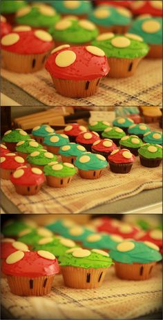 Super Mario mushroom cupcakes for a video game themed party. Turned out adorable! 9th Birthday Parties, Mario Birthday Cake, Super Mario Birthday, Super Mario Party, 11th Birthday, Mario Games For Kids, Mario Party Games, Video Games For Kids, Mushroom Cupcakes