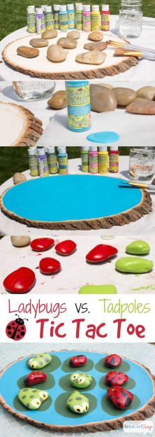 Paint your own ladybugs vs. tadpoles tic tac toe game. I love this idea for the garden. Tutorial at AttaGirlSays.com