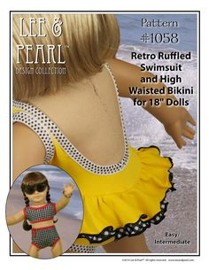 "LP Pattern 1058 - Retro Ruffled Swimsuit and High Waisted Bikini for 18"" Dolls"